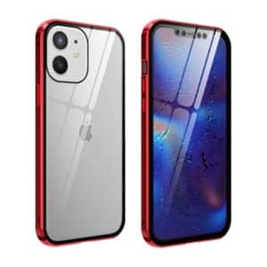 iphone 12 mini magnetic case with tempered glass red 02112020 01